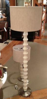 stacked stone floor lamp ivory sofa spindle