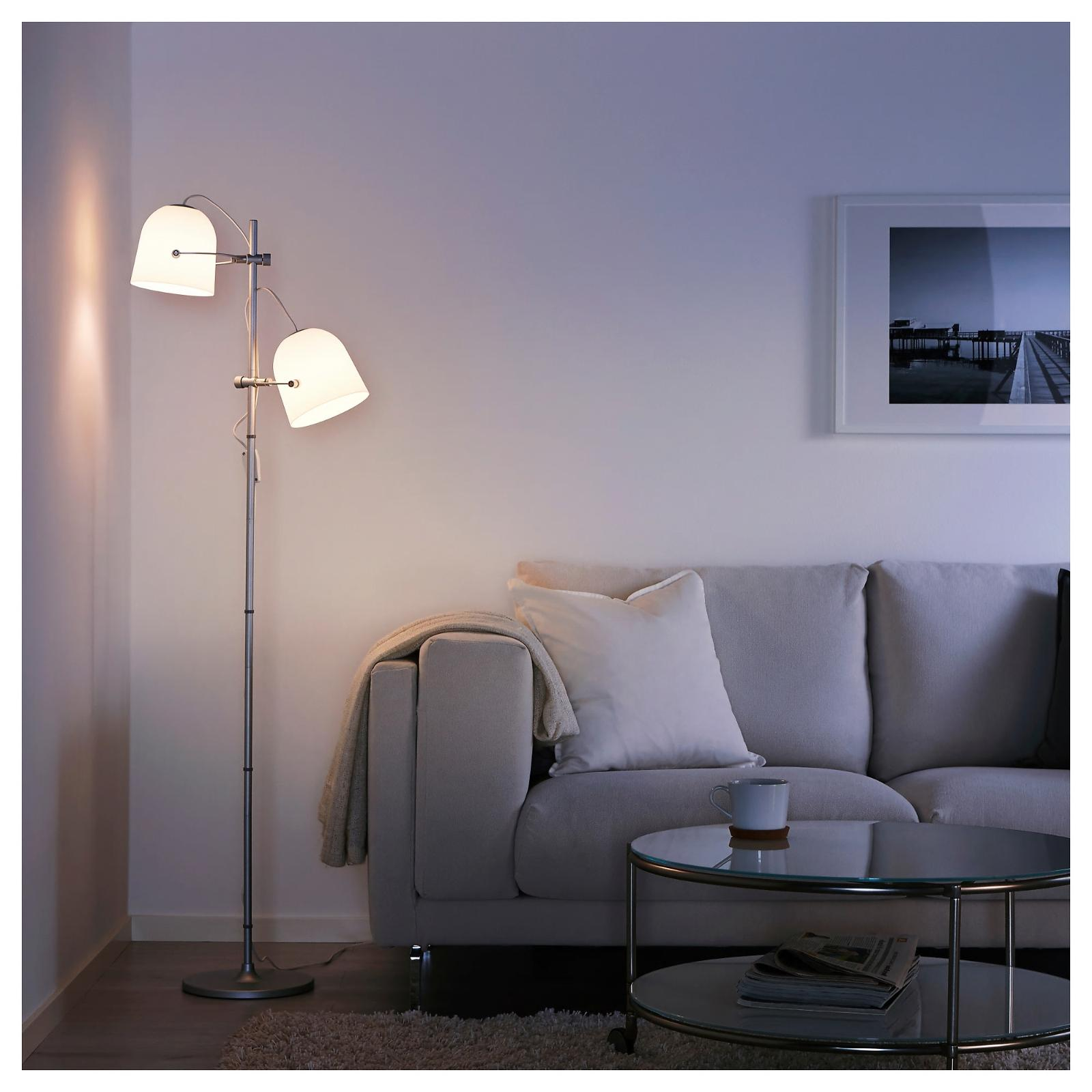 svirvel floor lamp w 2 shades white