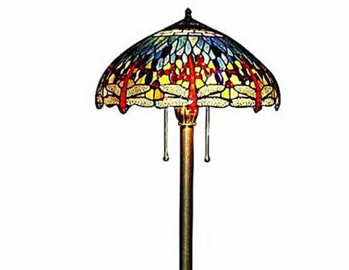 Tiffany Dragonfly Floor Lamp Glass w/Bronze Base 60""