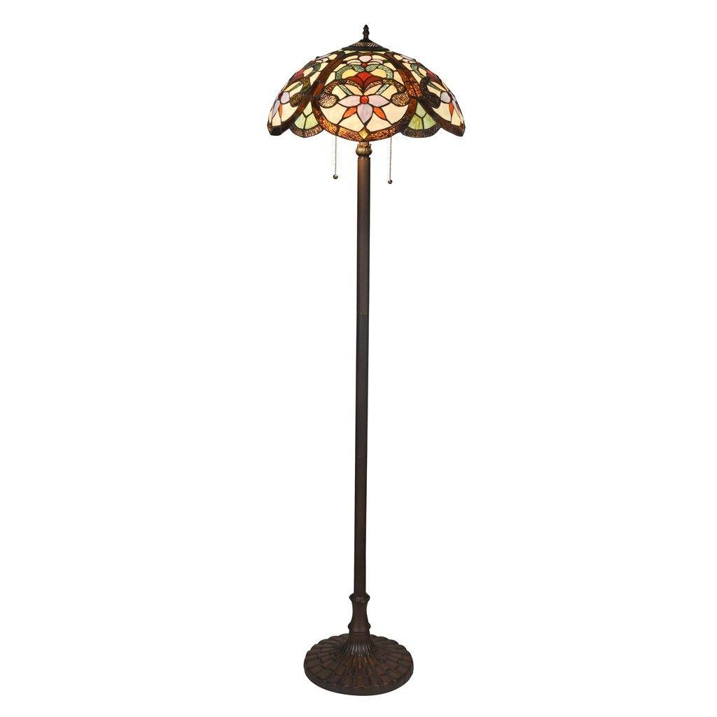 Tiffany Floor Reading Lamp Vintage Light Look Stained Glass