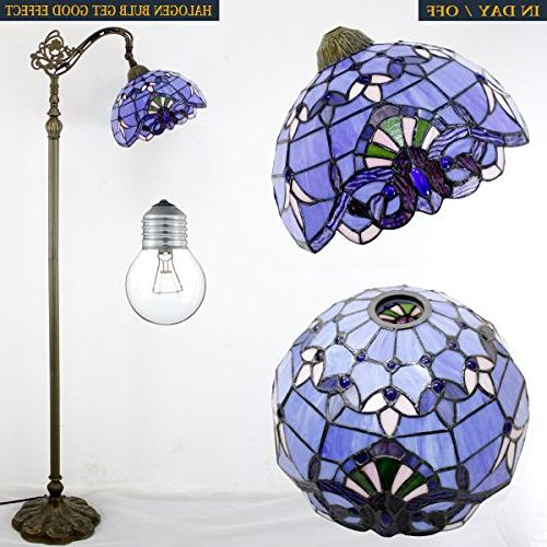 Tiffany Style Reading Lamp Glass Blue Purple Baroque Lampshade 64 Inch Arched Base Bedroom Table Set S003C WERFACTORY