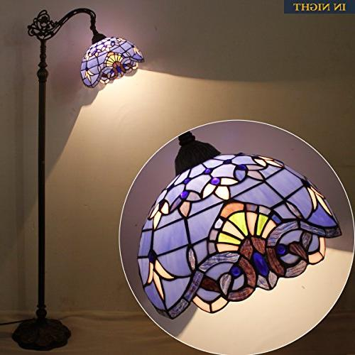 Tiffany Style Floor Lamp Purple 64 Tall Arched Base Table Set