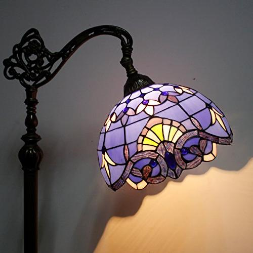 Tiffany Lamp Glass Purple Baroque Lampshade 64 Inch Tall Antique Arched Bedroom Living Room Table S003C WERFACTORY