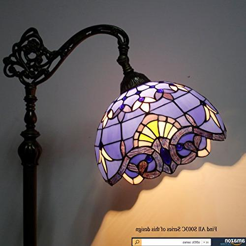 Tiffany Style Lamp Stained Purple Arched Base Bedroom Living Lighting Table WERFACTORY