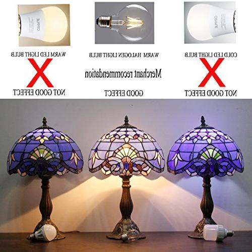 Tiffany Lamp Purple Baroque Lampshade in 64 Tall Antique Arched Base Bedroom Table Set S003C WERFACTORY