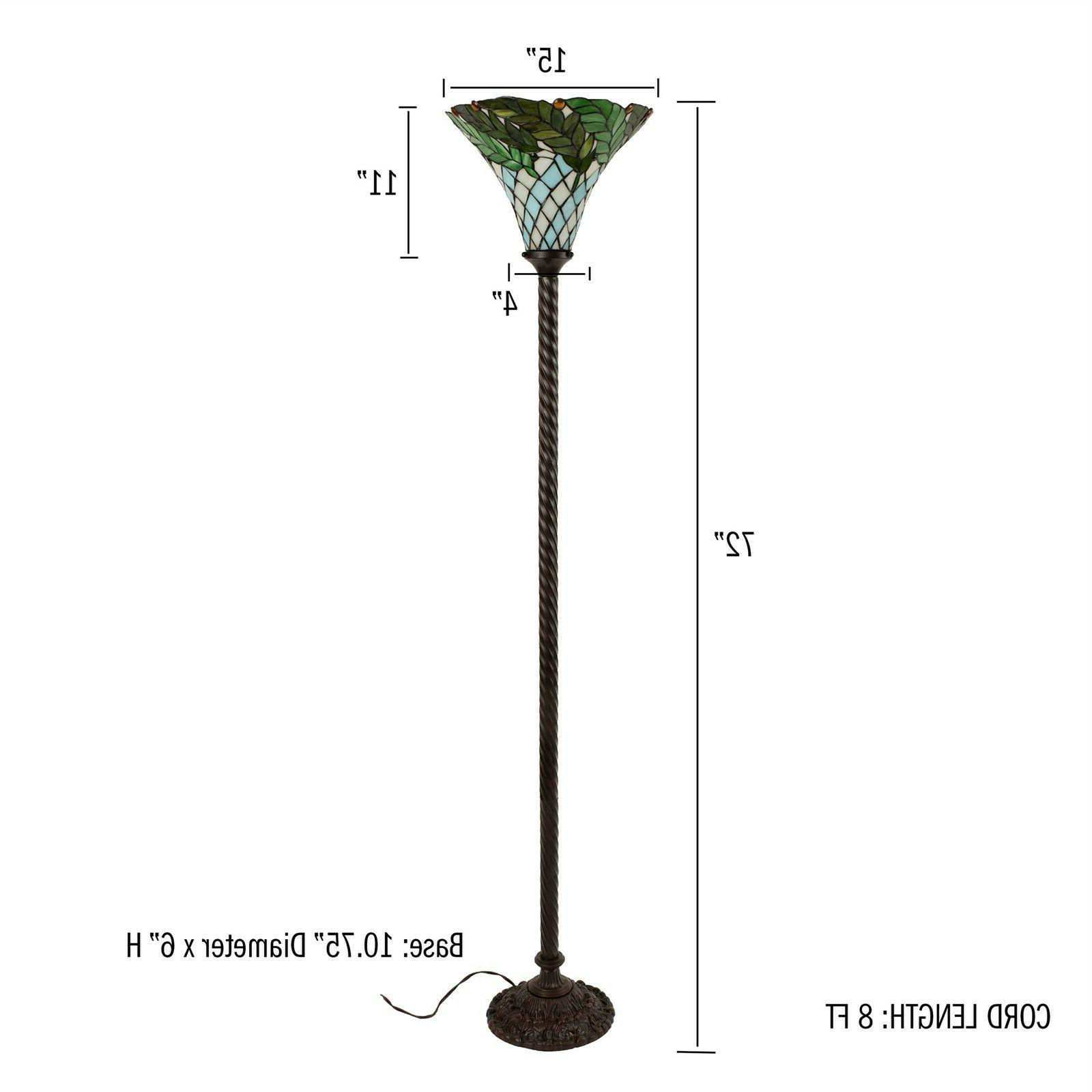 Tiffany Floor Leaf Stained Shade Glass Metal Base Decor