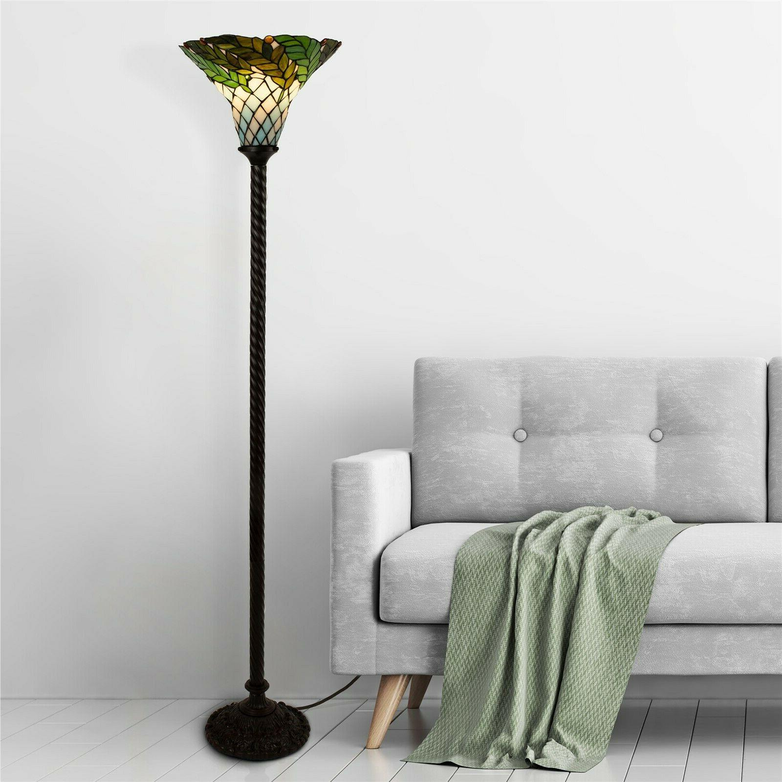 tiffany style floor lamp leaf stained shade