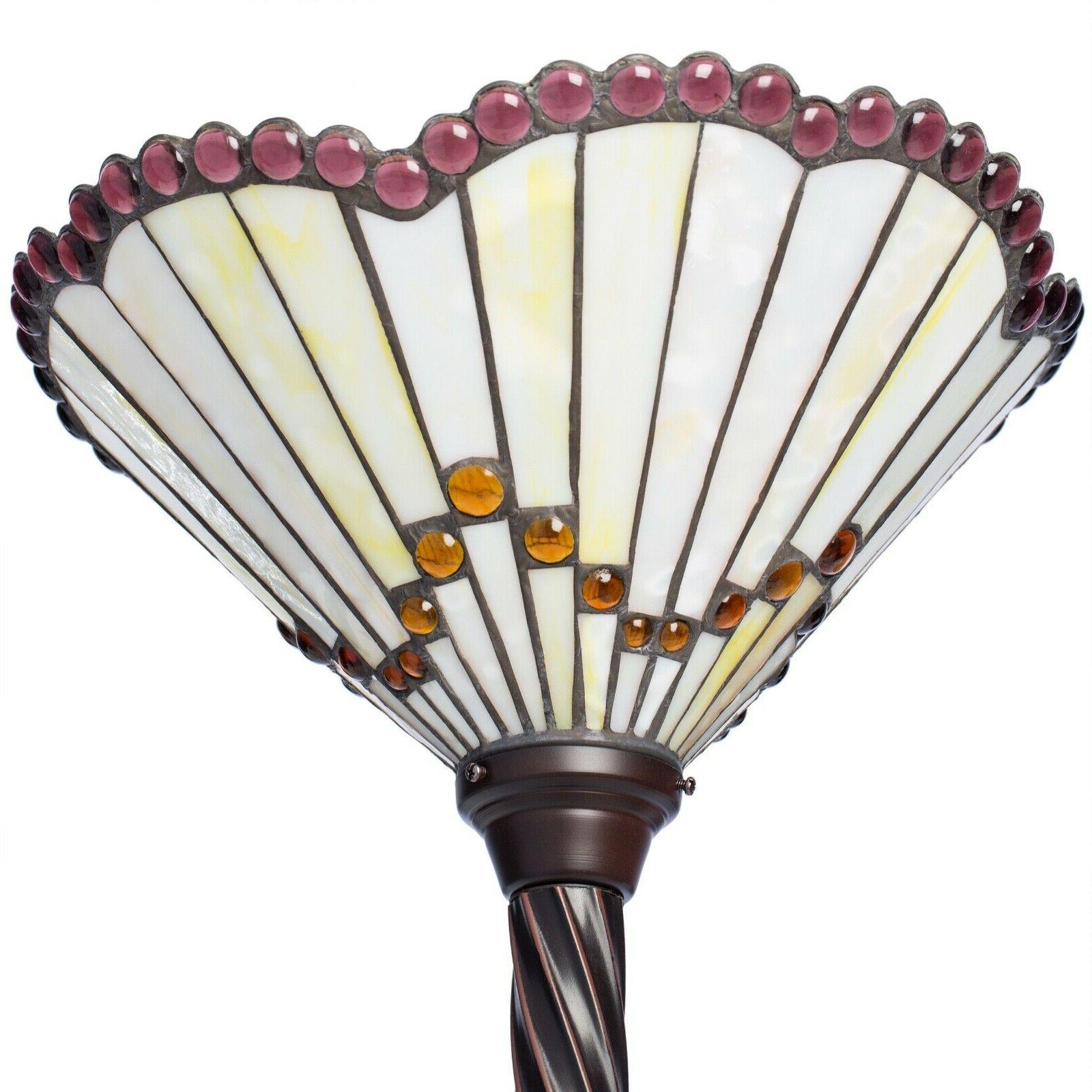 Tiffany Style Floor Lamp Lighing Glass White Jewel Torchiere