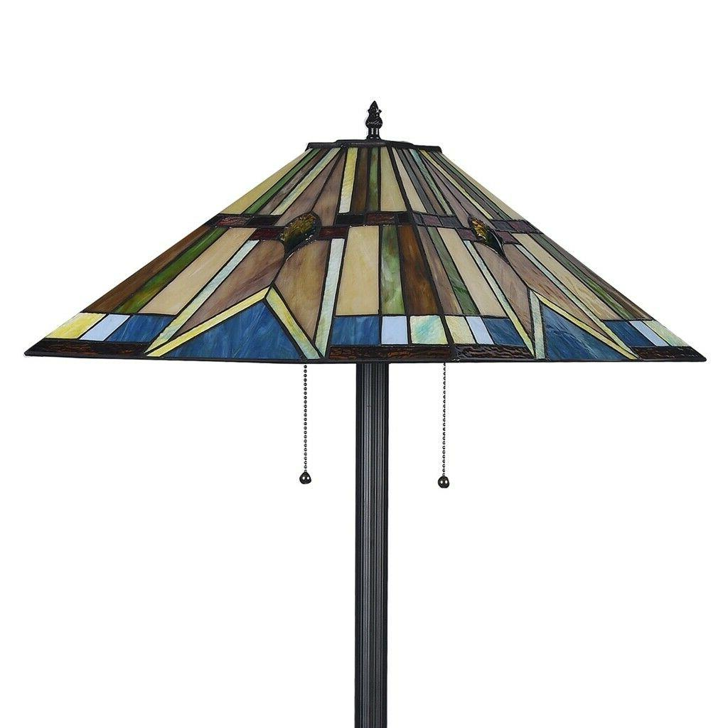 Tiffany Style Floor Lamp Mission Stained Glass Standing Light