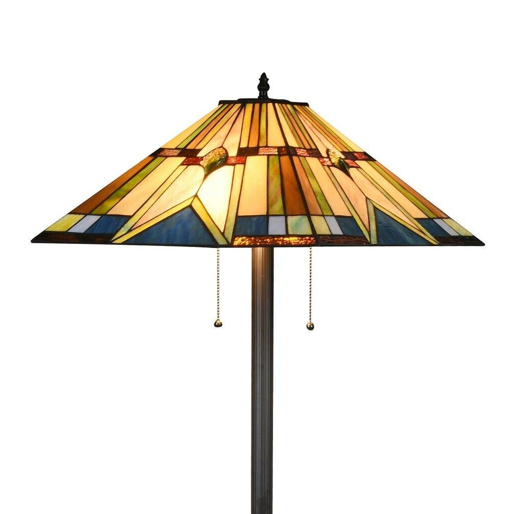 tiffany style floor lamp mission stained glass