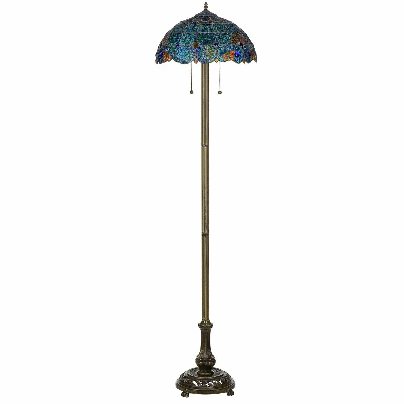 tiffany style handcrafted blue vintage floor lamp