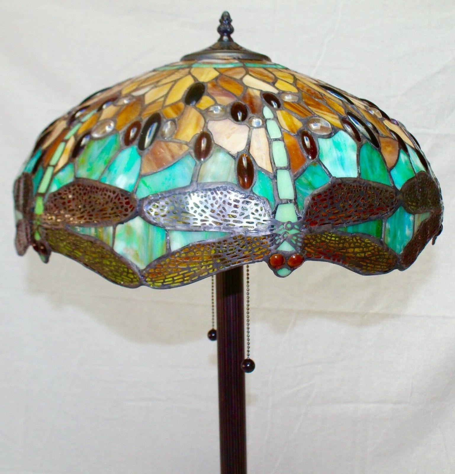 """Tiffany Style Handcrafted Dragonfly Floor 18"""" Shade"""