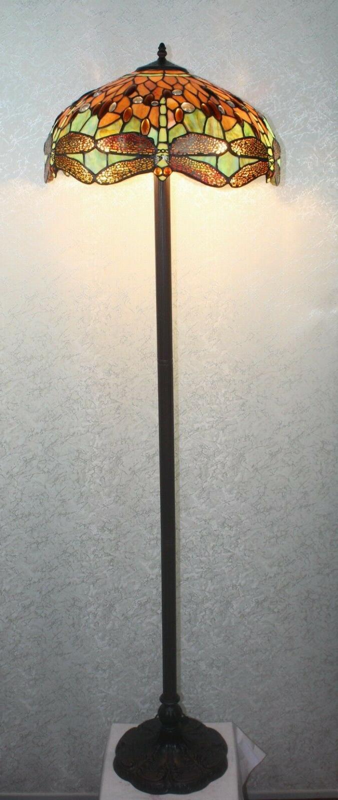 tiffany style handcrafted orange dragonfly floor lamp