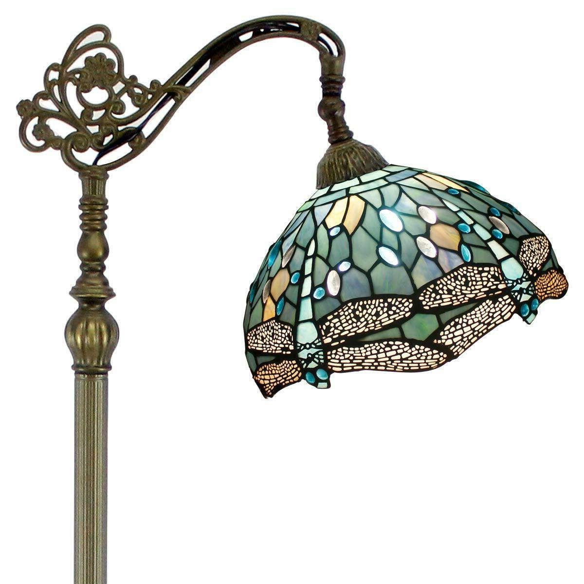 tiffany style stained glass shade bronze base