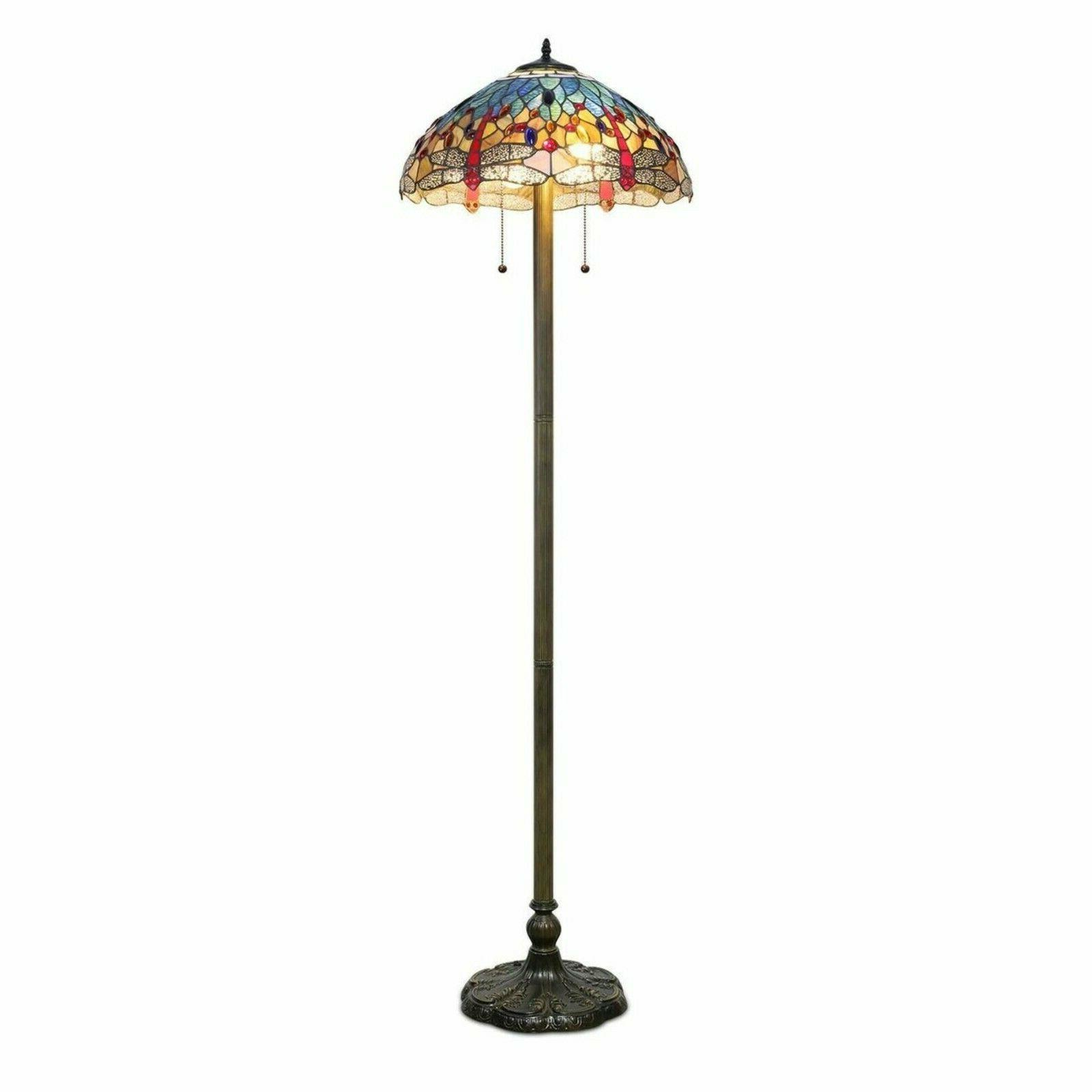"""Tiffany Torchiere Floor Lamp Yellow Stained Shade 58"""" High"""