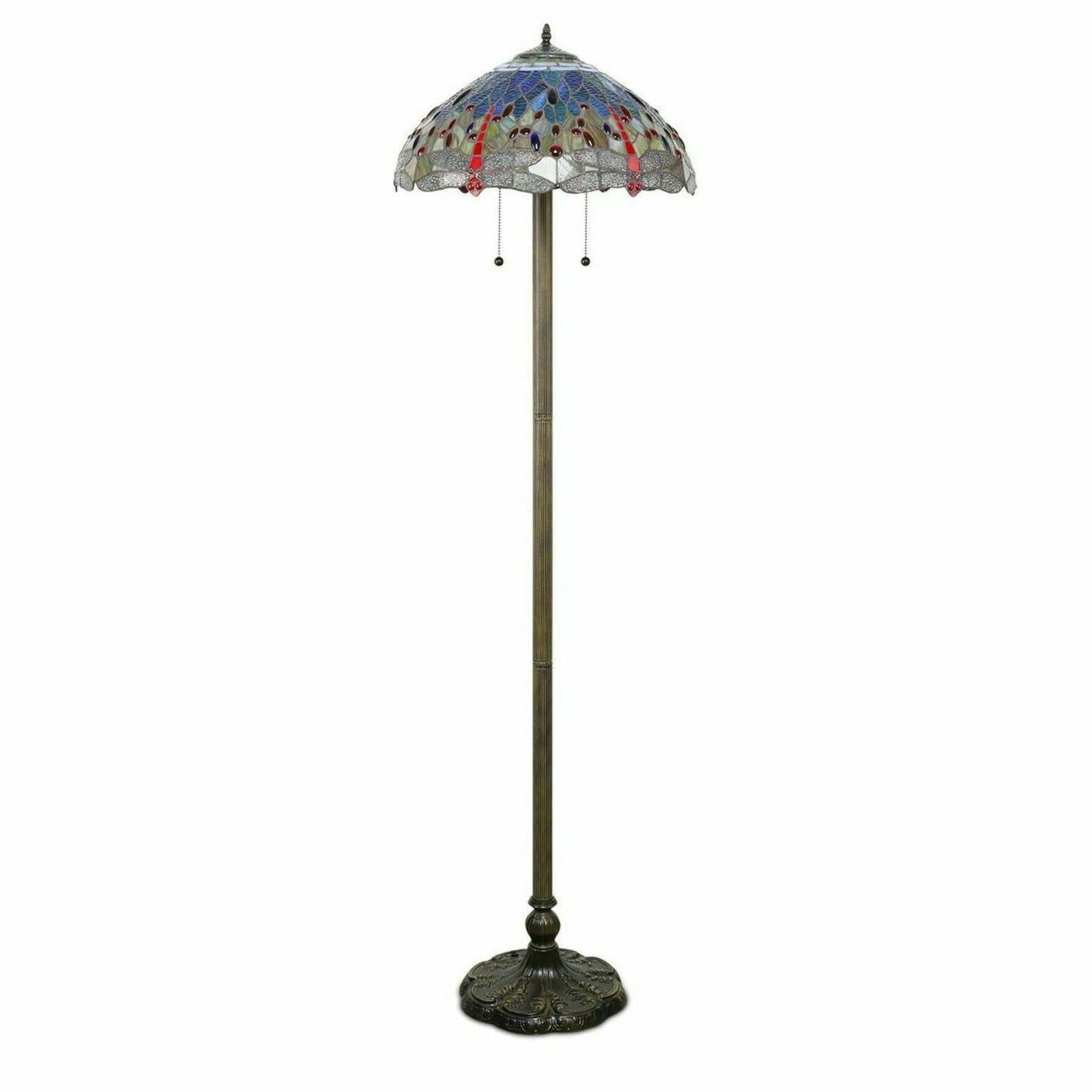 Tiffany Lamp Red Yellow Stained Shade High