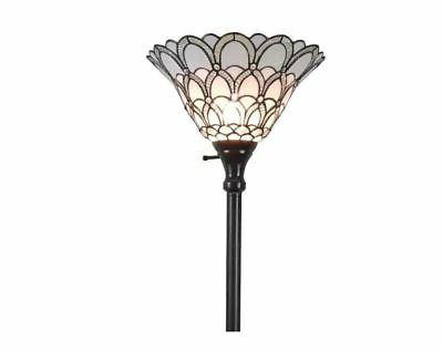 Tiffany style Torchiere Lamp 72 in Floor White torch shade s