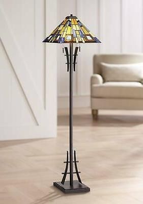 Robert Louis Tiffany Jewel Tone Art Glass Floor Lamp