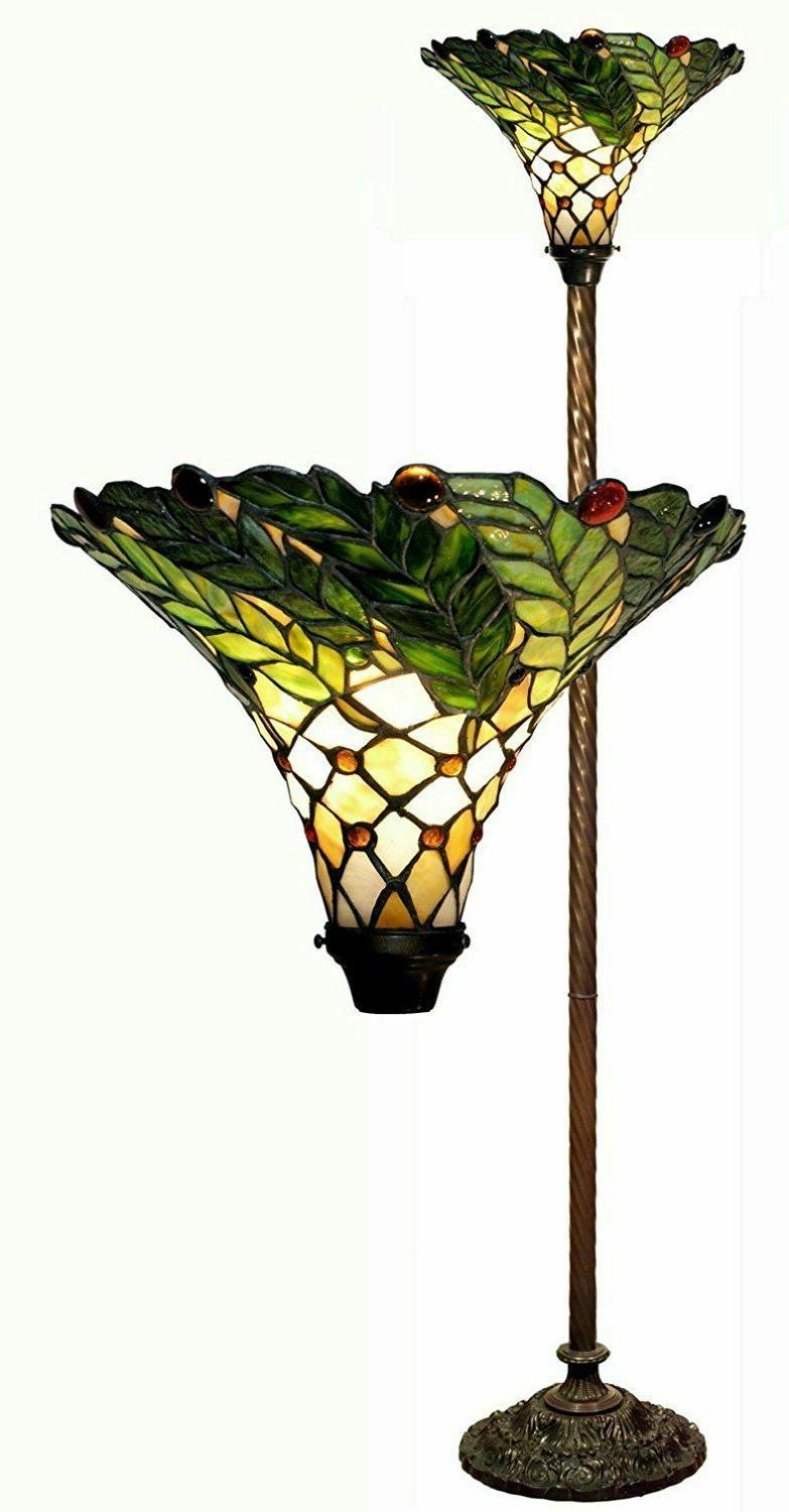 Torch Floor Lamp Tiffany Style Stained Glass Green Leaf Bron