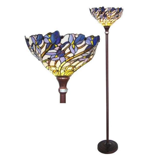 Torch Floor Lamp Victorian Iris Tiffany Style Stained Glass