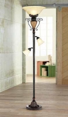 Traditional Bronze Crackle Tree Torchiere Floor Lamp