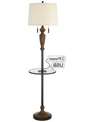 Traditional Floor Lamp with Table USB Bronze Wood for Room