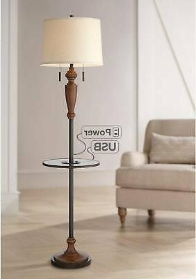 traditional rustic floor lamp with table usb