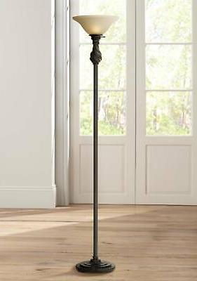 traditional torchiere floor lamp swirl amber glass