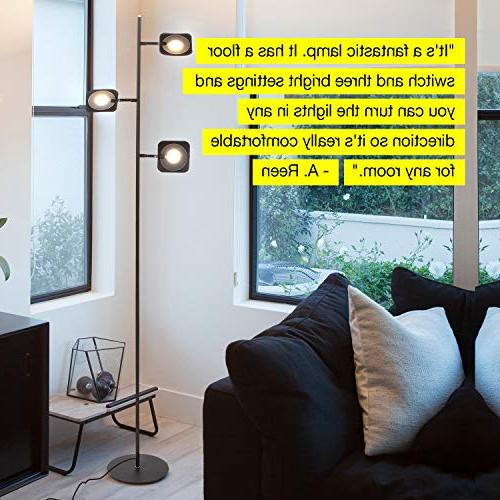 Brightech LED Floor Very Bright Craft Makeup 3 Light Standing Pole - Modern Dimmable & Panels, Space