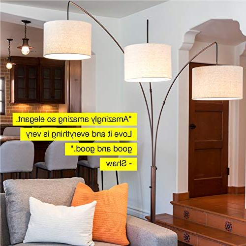 Brightech Trilage - with Base 3 Hanging Lights, for Reading - Free Standing, Room Couch Downlight