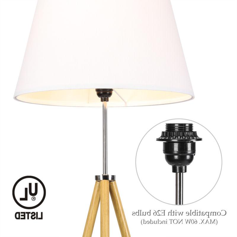 Tripod Lamp Natural Wood Color White Shade Foot