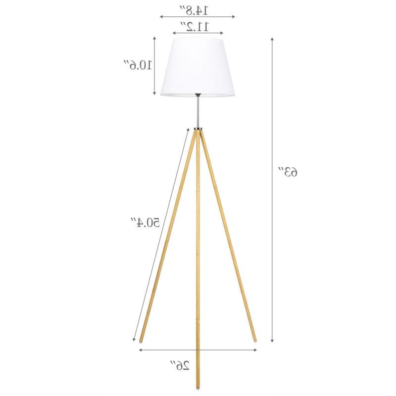 Tripod Lamp Wood White Shade