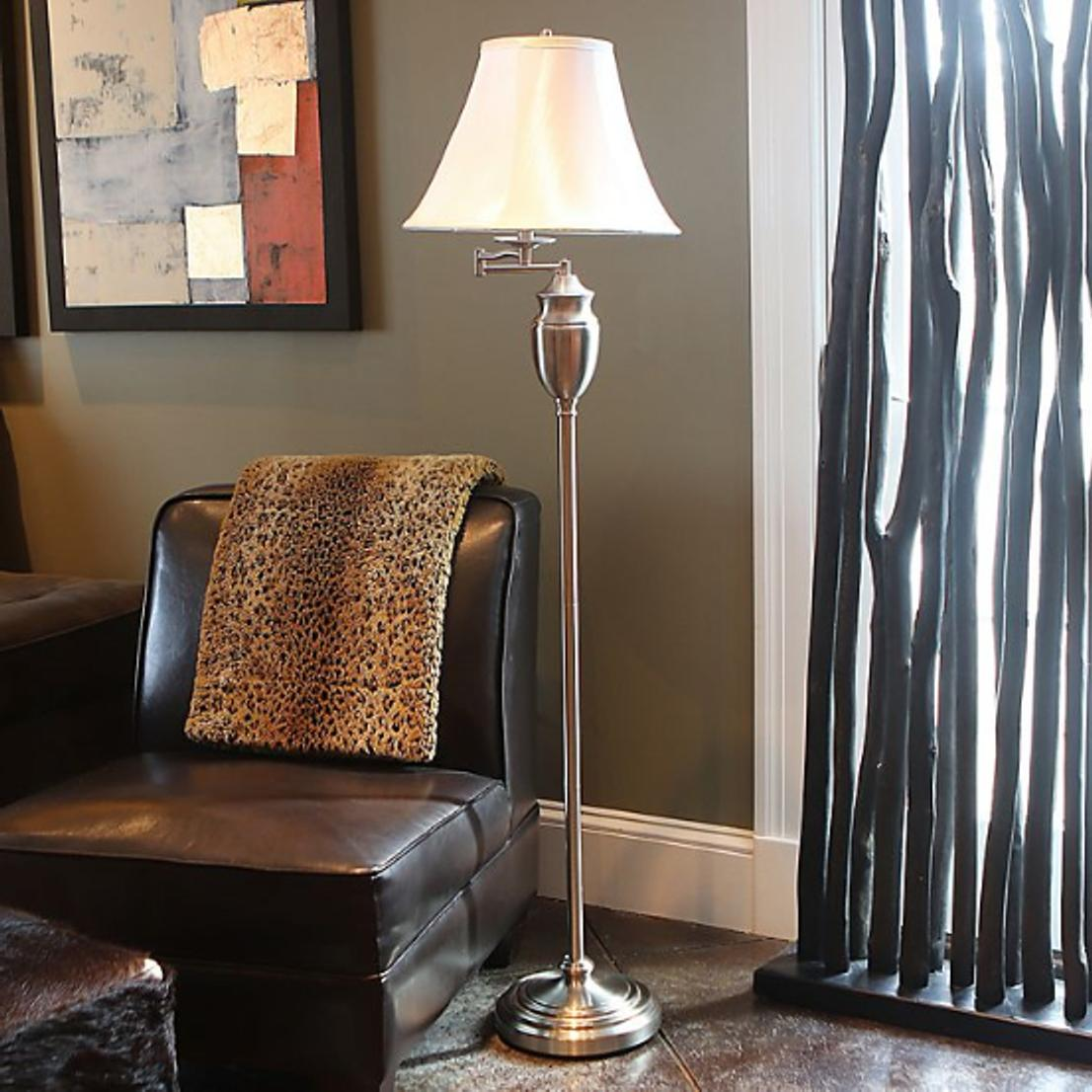 """Lamp Steel, Faux Shade, 59""""H"""