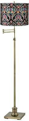Westbury Embroidered Shade Brass Swing Arm Floor Lamp