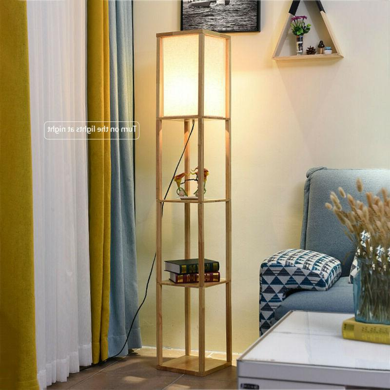Wood Floor Lamp Linen Shade Shelf Storage Organizers Living