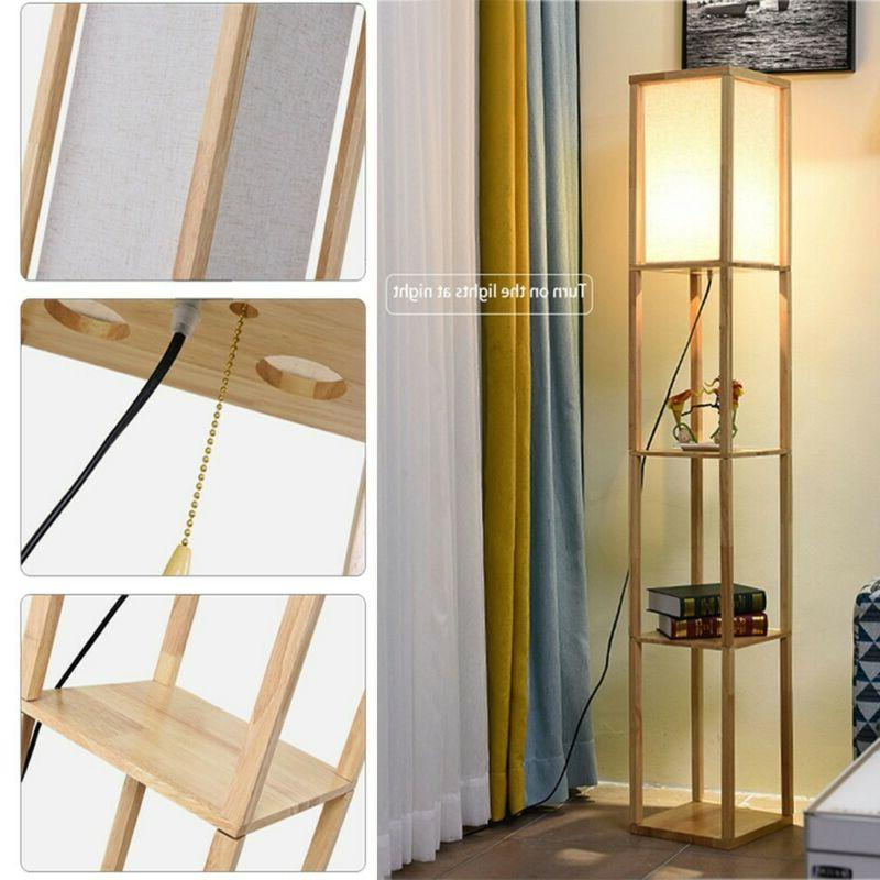 Wood Floor Lamp Linen Shade Shelf Storage Organizer Living R