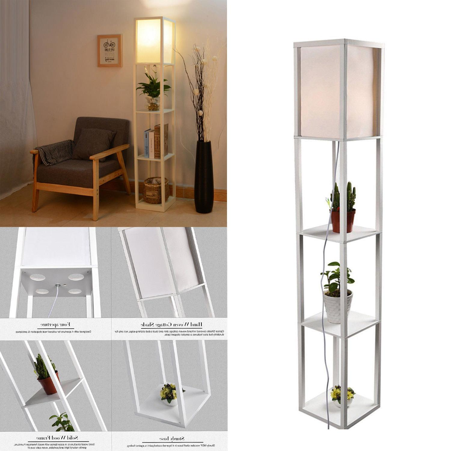 Wood Shelf Floor Lamp Fabric Standing Light Reading Linen Sh