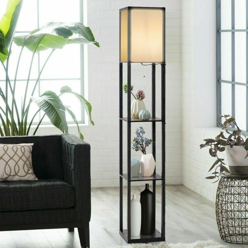 wood shelf floor lamp led light w