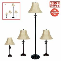 NEW 4-Piece Lamp Set Dark Brown Home Decor Living Room Floor