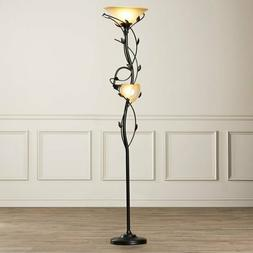 Leaf Floor Lamp 2 Light Reading Torchiere Forest Tree Electr