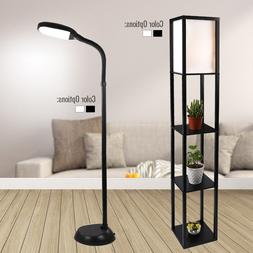 led floor lamp shelf adjustable wood standing