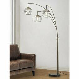 "Longshore Tides Leon Metro 84"" Tree Floor Lamp Brushed Meta"