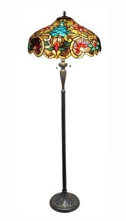 Leslie Tiffany-Style Victorian 2 Light Floor Lamp 18-Inch Sh