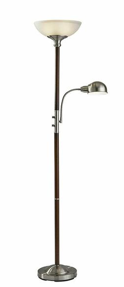 Lexington Torchiere Floor Lamp and Reading Light in Dark Wal