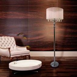 Elegant Designs LF1002-WHT Sheer Shade Chrome Floor Lamp wit