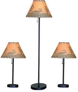 Catalina Lighting Lodge Table and Floor Lamp Set with Printe