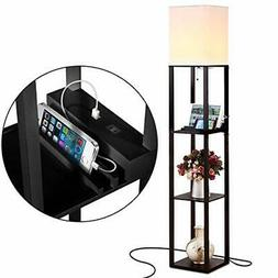 Brightech Maxwell Shelf Floor Lamp with USB Charging Ports &