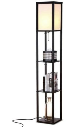 Brightech Maxwell LED Shelf Floor Lamp with Wireless Chargin