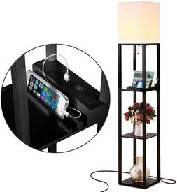 Brightech Maxwell Shelf Floor Lamp with USB Charging Ports E