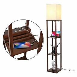 Brightech Maxwell Standing Tower Floor Lamp with Shelves and